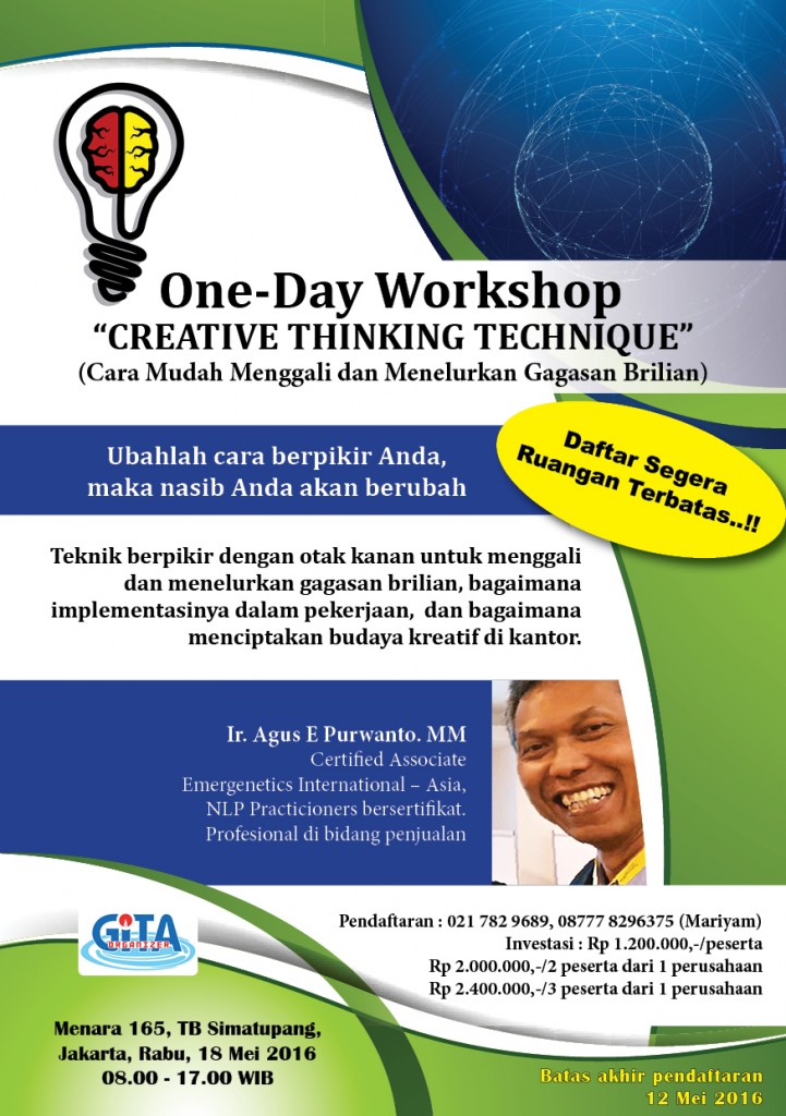 Promo creative thinking workshop 18 mei